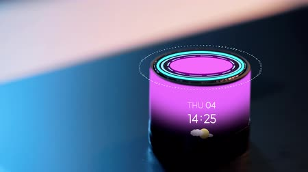 interactive table : smart speaker with date, time and virtual hologram