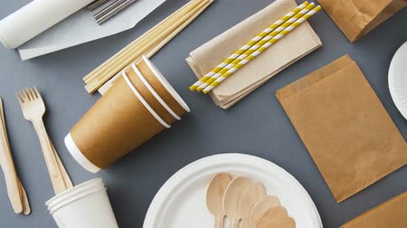 biodegradable : disposable dishes of paper and wood