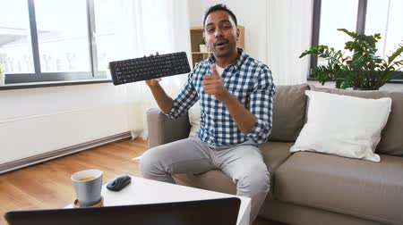 creator : male blogger with keyboard videoblogging at home Stock Footage