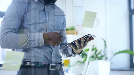 placa : businessman with tablet pc at office glass board