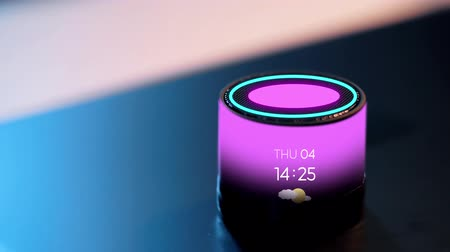 interactive table : smart speaker with date, time and day of week