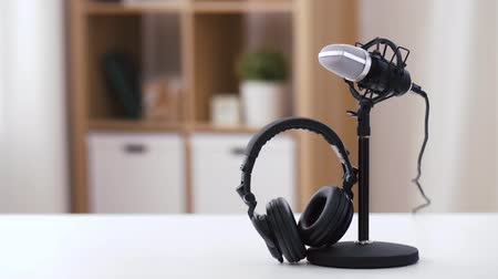 transmitting : headphones and microphone at home office