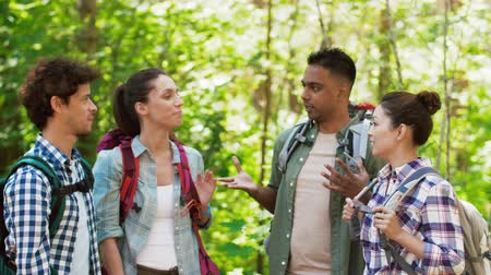 multiethnic : friends with backpacks hiking and making high five Stock Footage