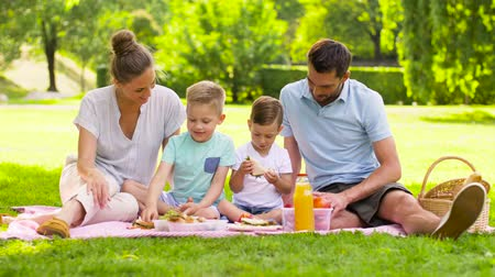 pre hispanic : happy family having picnic at summer park Stock Footage