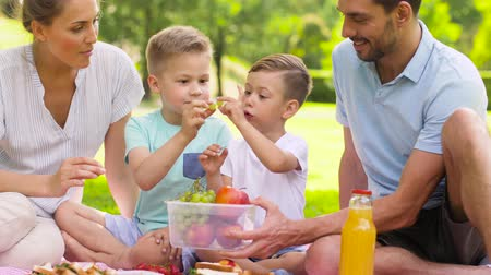 grape basket : happy family eating fruits on picnic at park