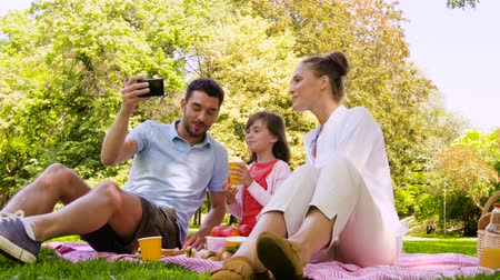 pre hispanic : family having picnic and taking selfie at park Stock Footage