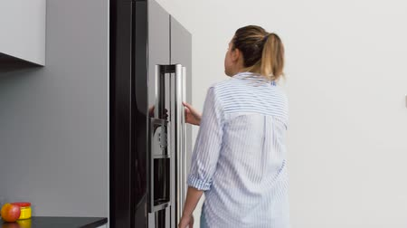 クーラー : woman taking food container from fridge at kitchen