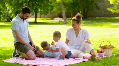 cesta de picnic : happy family having picnic at summer park Archivo de Video
