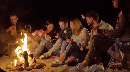 mályvacukor : friends with marshmallow and tablet pc at fire