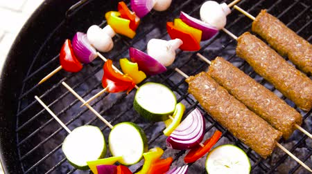 shish kebab : barbecue kebab meat and vegetables on grill