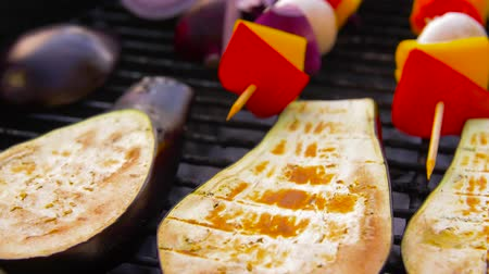 espetos : vegetables and mushrooms roasting on brazier grill