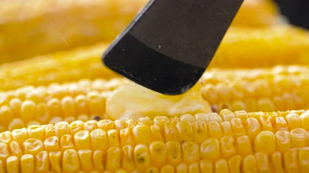 roaster : corn with melting butter roasting on grill Stock Footage