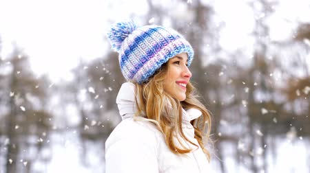 пригородный : portrait of happy smiling woman outdoors in winter