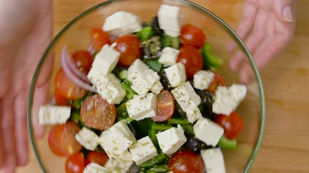 tofu : hands turning bowl of vegetable salad with feta Stock Footage
