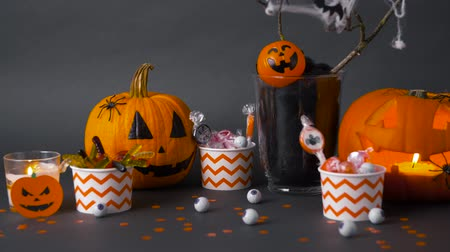 salva : pumpkins, candies and halloween decorations