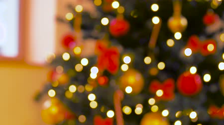 christmas tree with lights : blurred decorated christmas tree at home