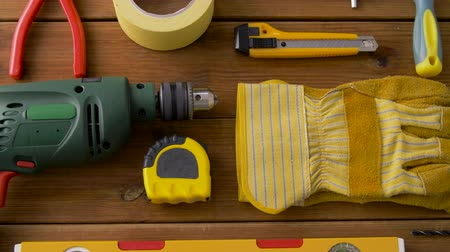 drilling wood : different work tools on wooden boards