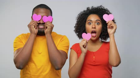 Валентин : happy african american couple with hearts