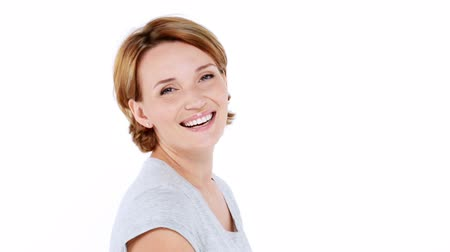 gülümseyen : Beautiful happy surprised woman with positive emotions over white background