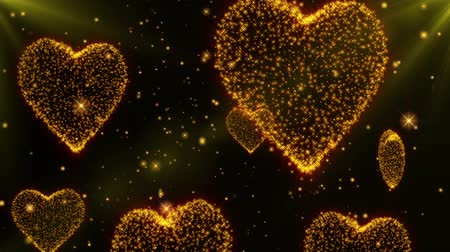 esküvő : Glowing hearts background for Wedding and Valentines day. Seamless loop. Gold