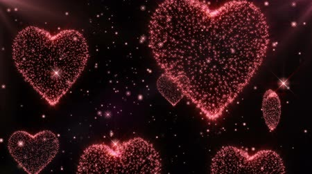 duše : Glowing hearts background for Wedding and Valentines day. Seamless loop. Red
