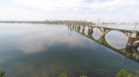 legjobb : aerial videos of the Dnieper river and the panorama of the city of Dnipropetrovsk, Ukraine