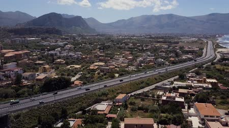 sycylia : Aerial view of the Sicilia, Italy. Road with cars. Sea Coast Mountains Wideo