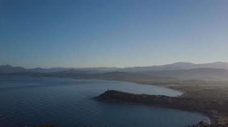 vnitrozemí : Aerial of a pretty sunrise on the coast, mountains in the background. Sardinia, Italy
