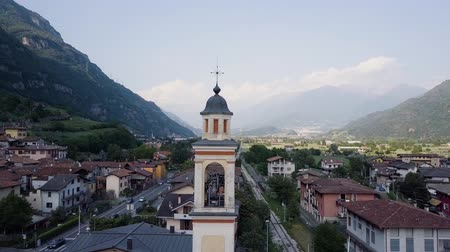 romanesk : Aerial Small Italian village in the mountains
