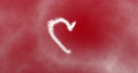 sen : digital heart made by white smoke on red background with white clouds, valentine day and love concept 1080p and 4K