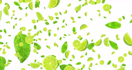 snack : digital animation fruits citrus lime slices and mint leaf flying on white background, loop seamless. 4K and 1080 resolution. Cocktail mojito ingredients, party concept Stock mozgókép