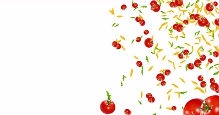 nutrição : italian pasta animation, tomato and basil falling down on white background with space for text, loop seamless. 4K and 1080 resolution. Mediterranean diet and nutrition concept