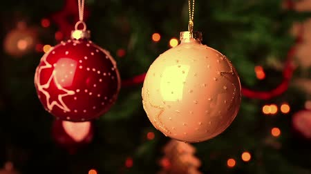 holidays : christmas and new year decoration balls. abstract blurred bokeh holiday background. christmas tree lights bokeh