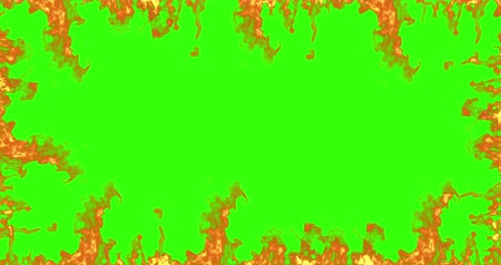 klucz : frame of real fire flames burn movement on chroma key, green screen background seamless loop ready