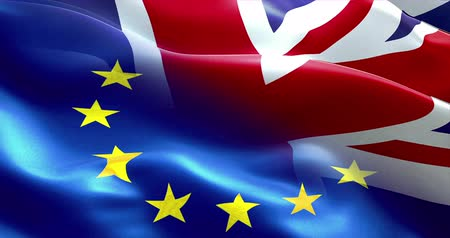 brexit : brexit half european flag and united kingdom of great britain england flag waving, crisis of eurozone brexit, vote referendum for uk exit concept