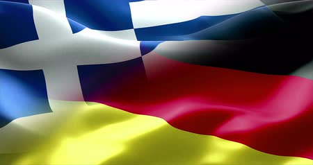 trave : Waving flag of Germany and Greece, europe economy concept Stock Footage