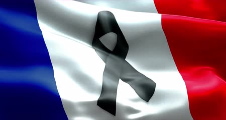 терроризм : pray for paris, nice, france, waving france country flag color background with black ribbon. Attack terrorism victims in france concept Стоковые видеозаписи