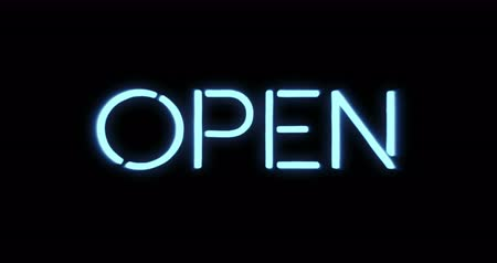 blinking light : flickering blinking blue neon sign on black background, open shop bar sign concept