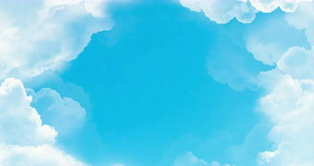 celestial : flight over white clouds under blue sky background, seamless loop ready animation