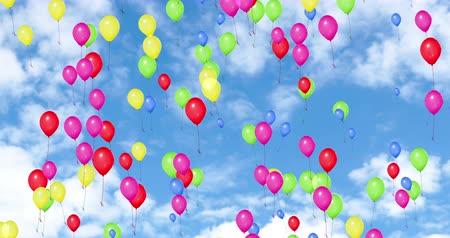 годовщина : colorful balloons flying in the blue sky with white clouds, color red, yellow,green,pink,blue, party festive holiday event, birthday anniversary