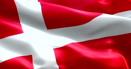 retro stílusú : closeup of animation waving dannebrog denmark flag, with red background and white cross, national symbol of danish sign Stock mozgókép