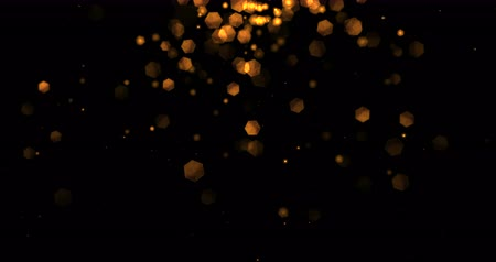 pozdrav : christmas golden light shine particles bokeh loopable from top on black background, holiday congratulation greeting party happy new year, christmas celebration concept