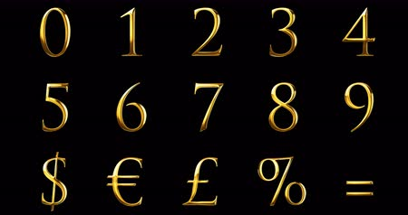 aritmética : vintage font gold yellow metallic numeric letters text series with dollar, percent, symbol sign on black background, concept of golden luxury number decoration text Stock Footage