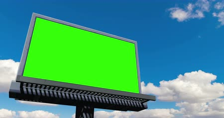 publicity : empty billboard with chroma key on the green screen, advertisement on concept