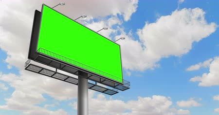 publicity : empty billboard with chroma key on green screen, advertisement