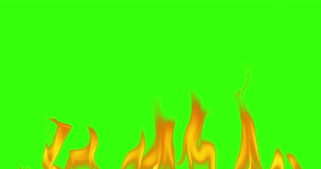 fireside : abstract real fire flames burn movement on chroma key green screen, with alpha channel background seamless loop ready