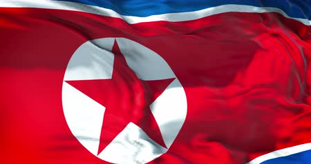 north korean flag : north korea flag waving texture fabric background, crisis of north and south korea, korean risk nuclear bomb war concept Stock Footage