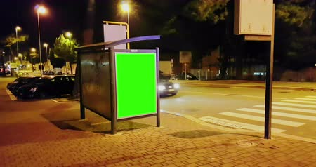 publicity : billboard with a chroma key on the green screen Stock Footage