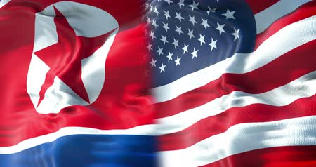 president of united states : half north korea flag and half united states of america flag, crisis usa states diplomacy and north korea for nuclear atomic bomb risk war concept Stock Footage