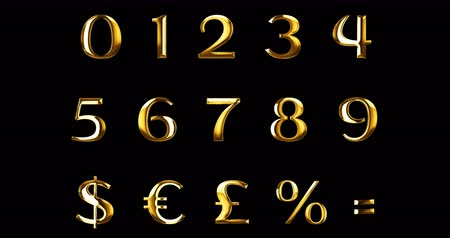aritmética : vintage yellow gold metallic numeric letters word text series with dollar, percent, symbol sign on black background, concept of golden luxury number decoration text Stock Footage